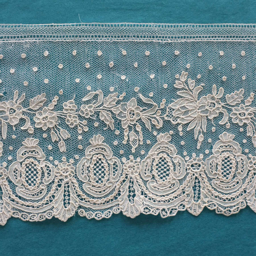 Antique Alencon Needle Lace Border circa 1850-75