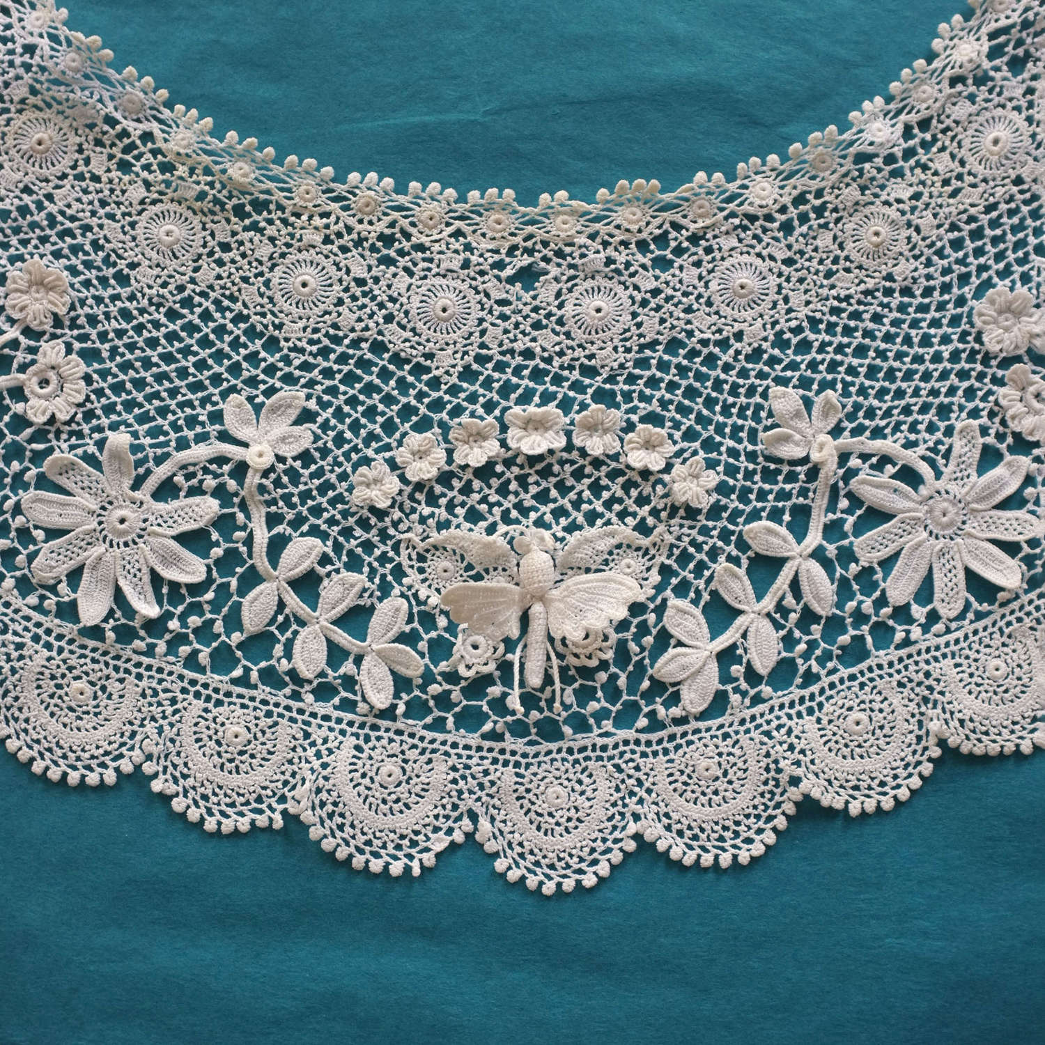 Antique Crochet Lace Collar With Butterflies