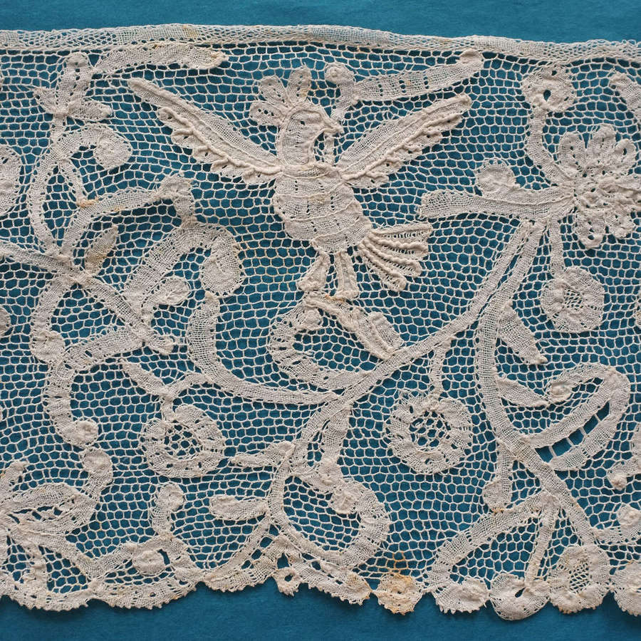 Antique 19th Century Bobbin and Needle Lace Flounce With Birds
