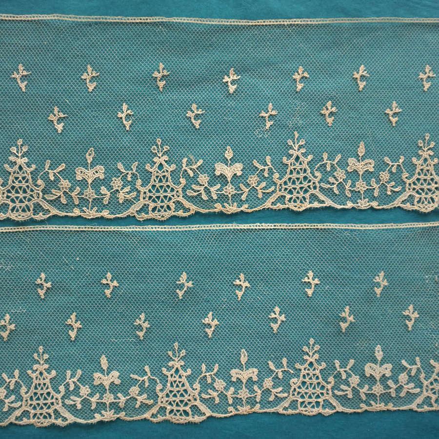 Antique 19th Century Brussels Needle Lace Applique Border