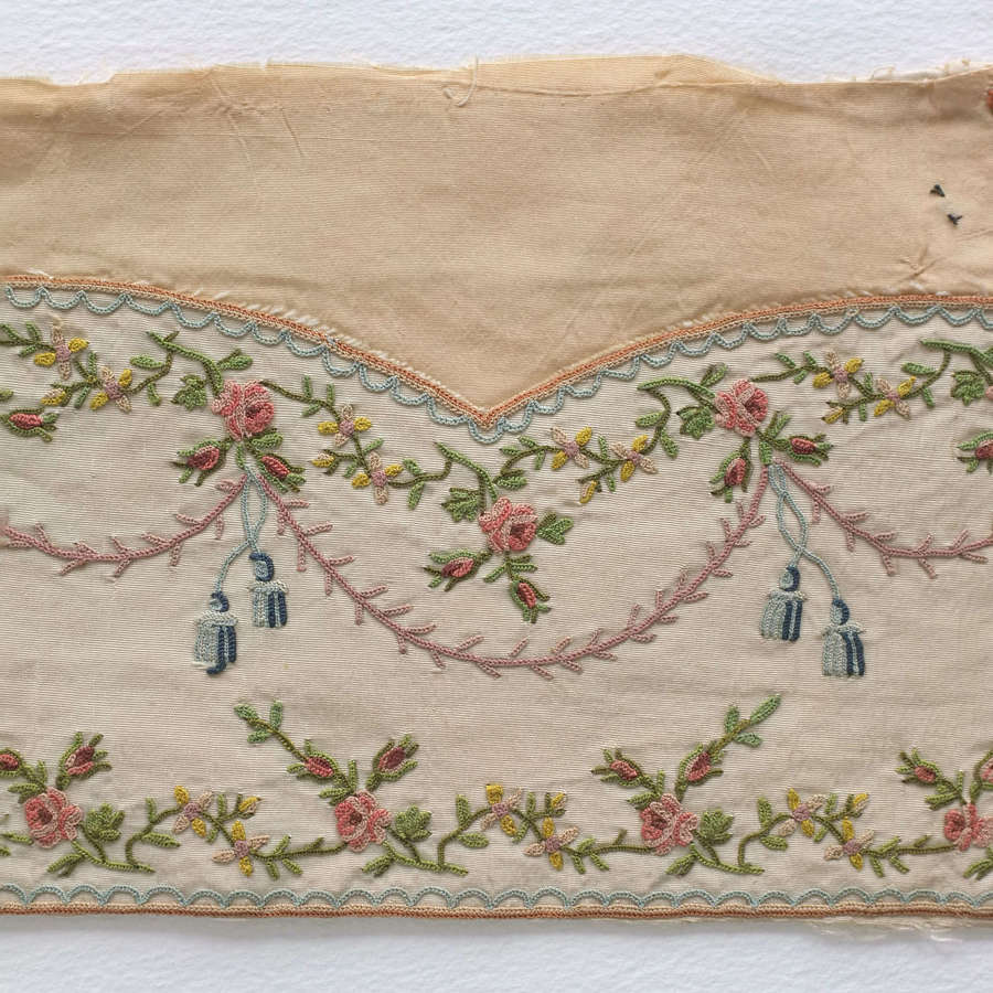 Antique 18th Century Silk Embroidered Waistcoat Fragment