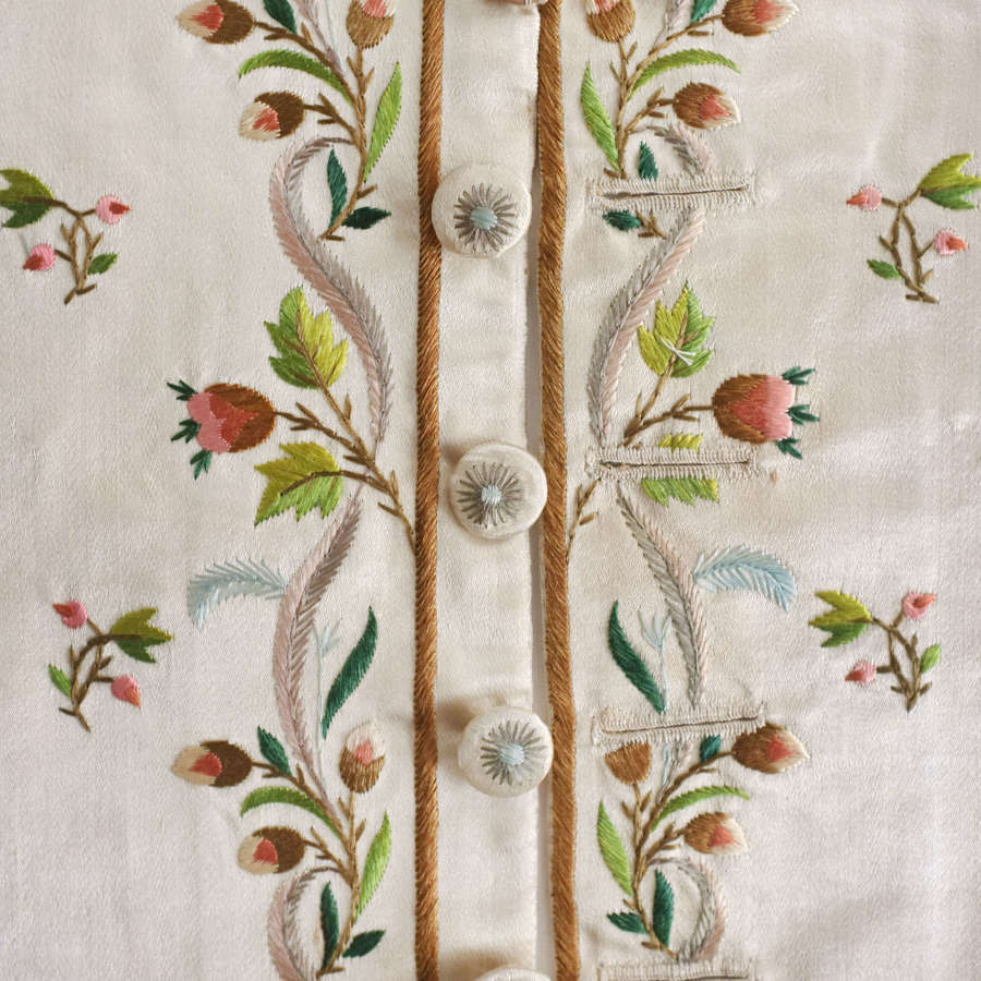 Antique 18th Century Embroidered Silk Waistcoat Front