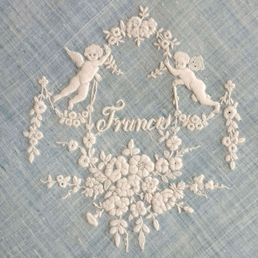Antique French Whitework Embroidered Handkerchief