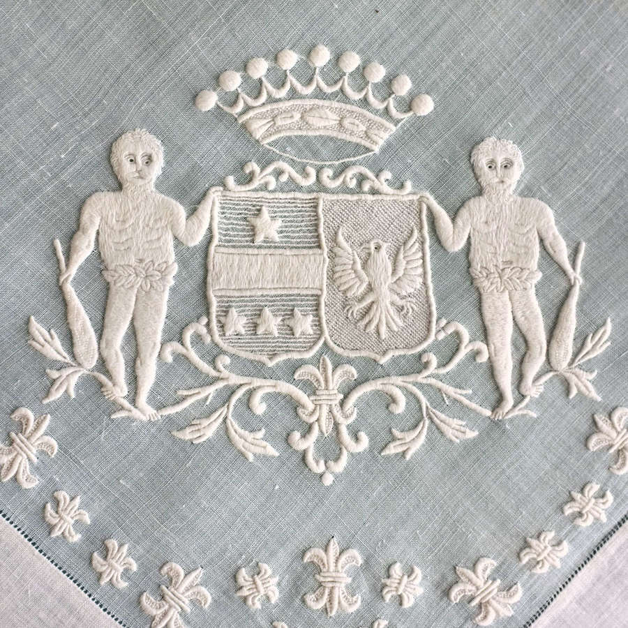 Antique French Whitework Handkerchief with Coronet of a Comte
