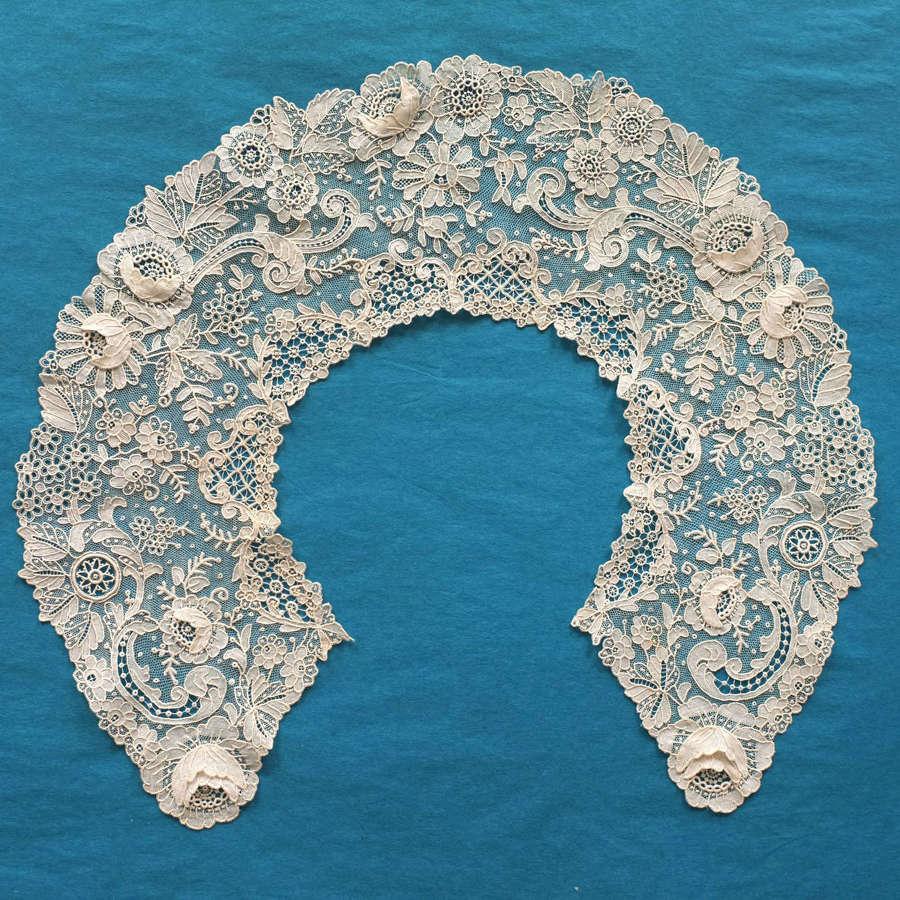 Antique 19th Century Brussels Rose Point de Gaze Lace Collar