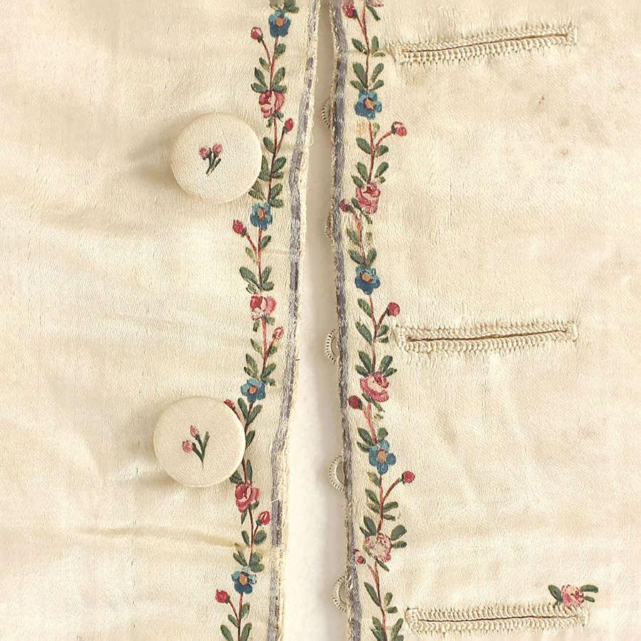 Antique 18th Century Painted Silk Waistcoat Panel