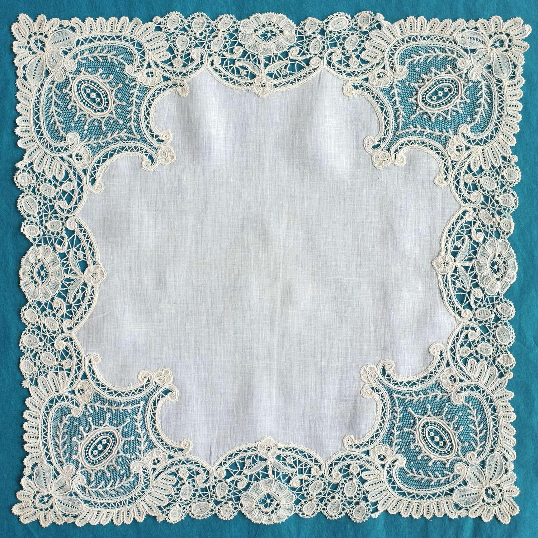 Antique Brussels Duchess and Point de Gaze Lace Handkerchief