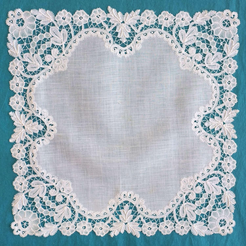 Antique 19th Century Duchess Lace Handkerchief