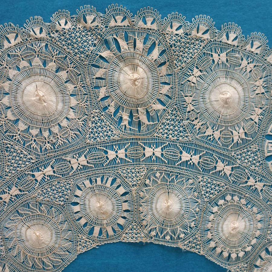 Antique Silk Nanduti Lace Fan Leaf