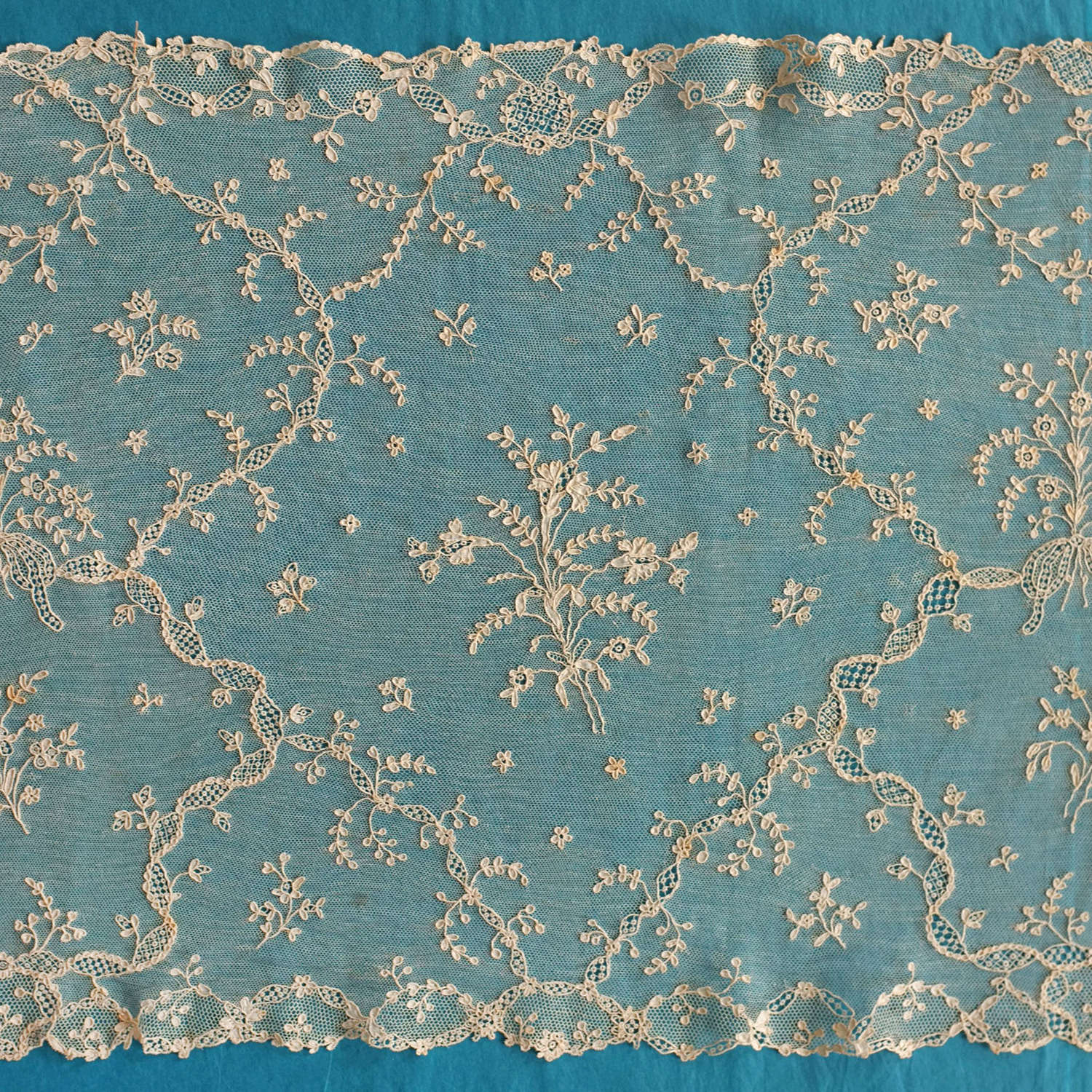 Antique Alencon Needle Lace Shawl, late 18th early 19th Century