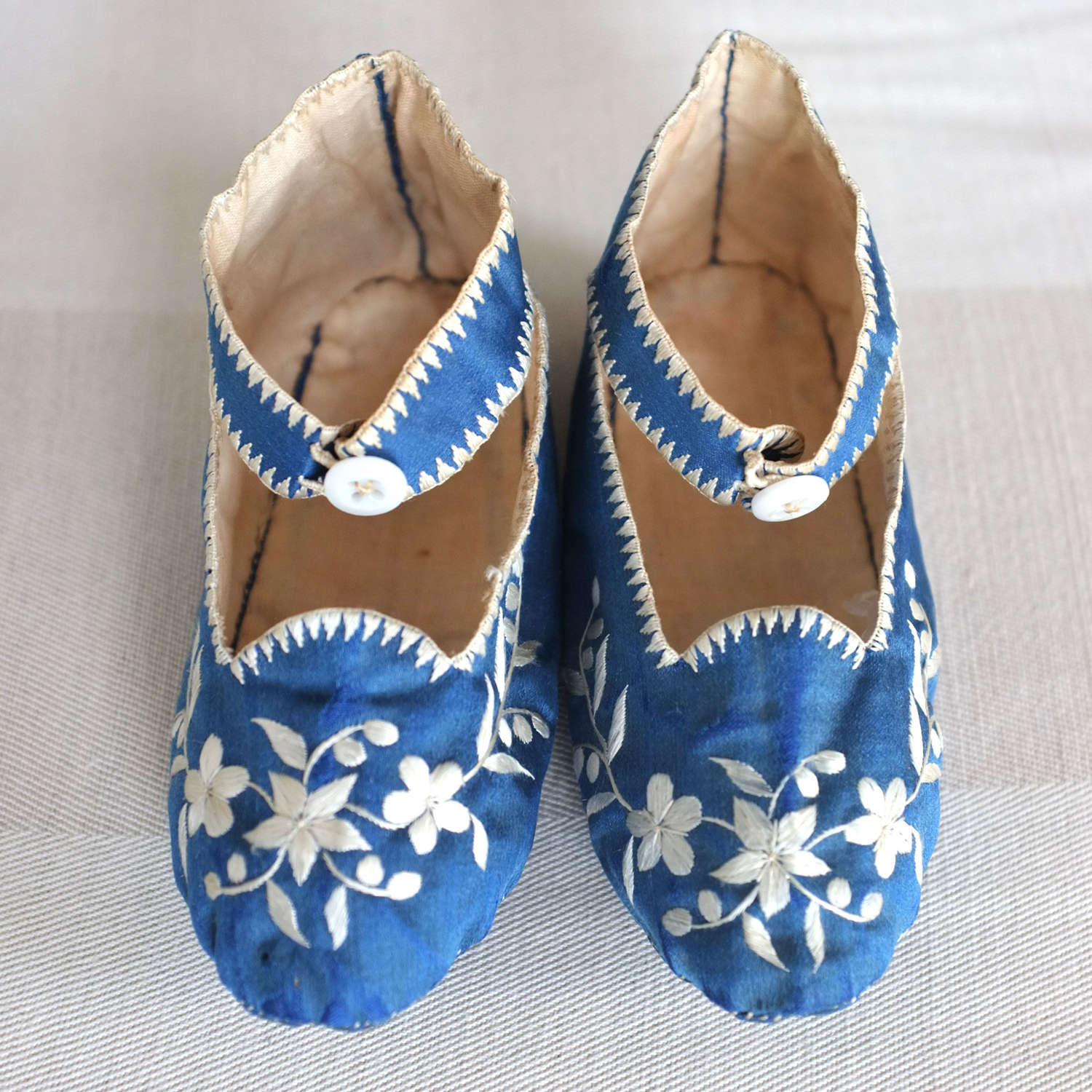 Antique Chinese Silk Embroidered  Baby Shoes