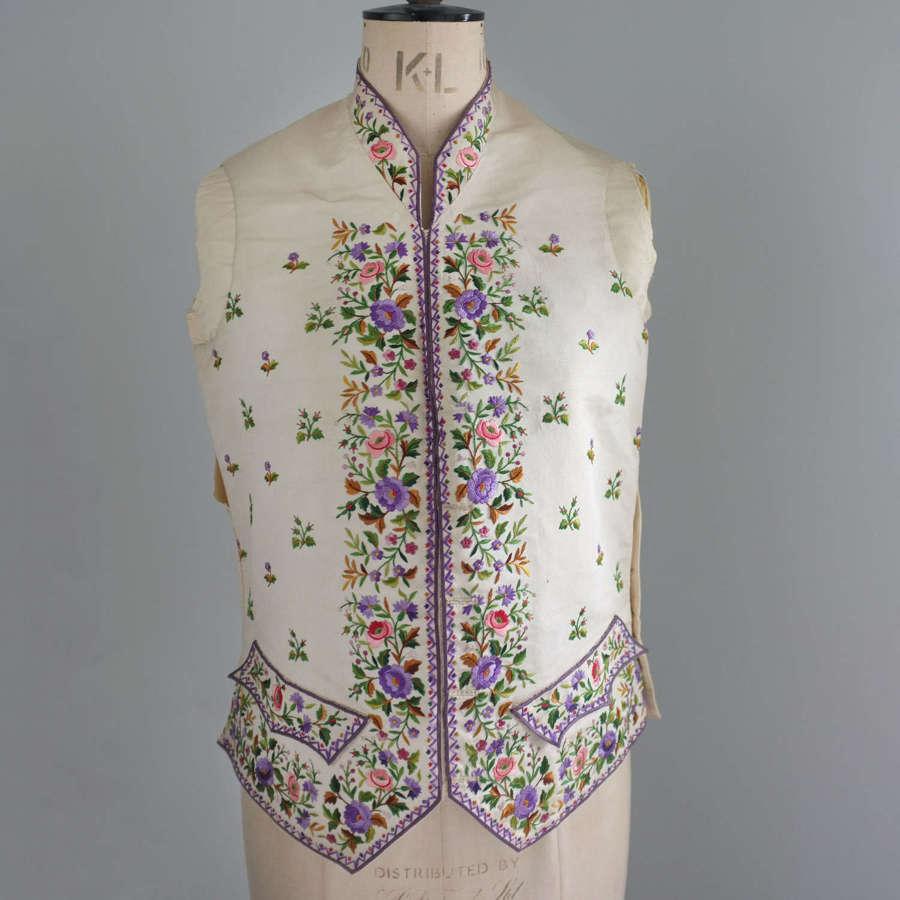 Antique 19th Century Gentleman's Embroidered Waistcoat