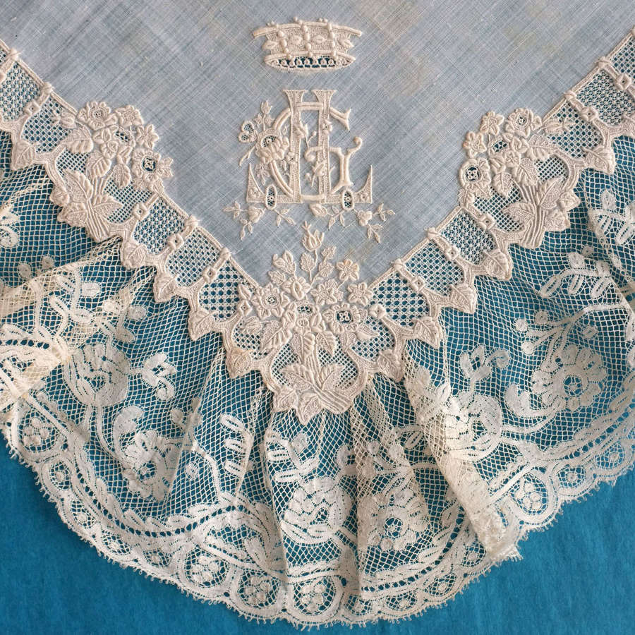 Antique 19th Century Whitework and Valenciennes Lace Handkerchief