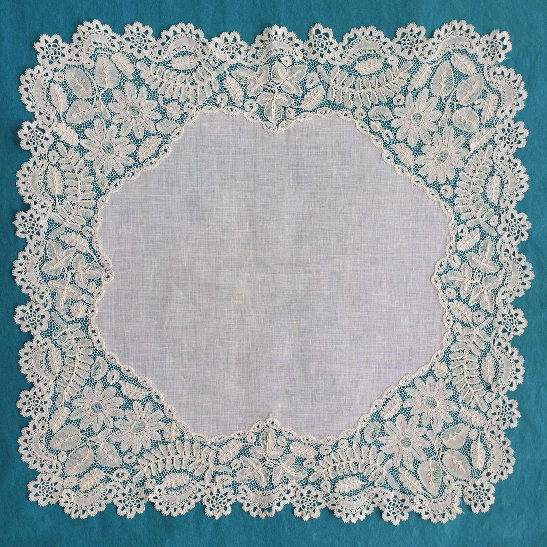 Antique Honiton Lace Handkerchief