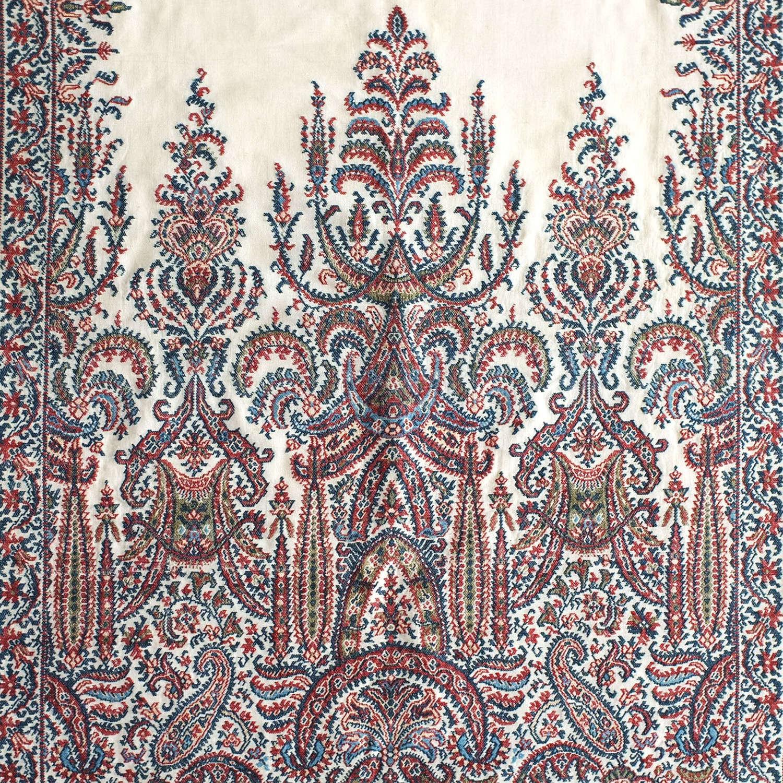 Antique French Silk Woven Shawl, circa 1835-40