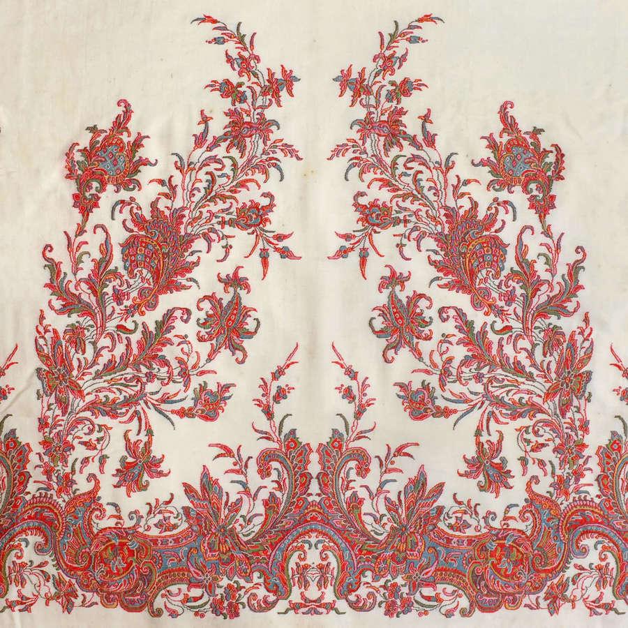 Antique Woven Wool Paisley Shawl, circa 1845