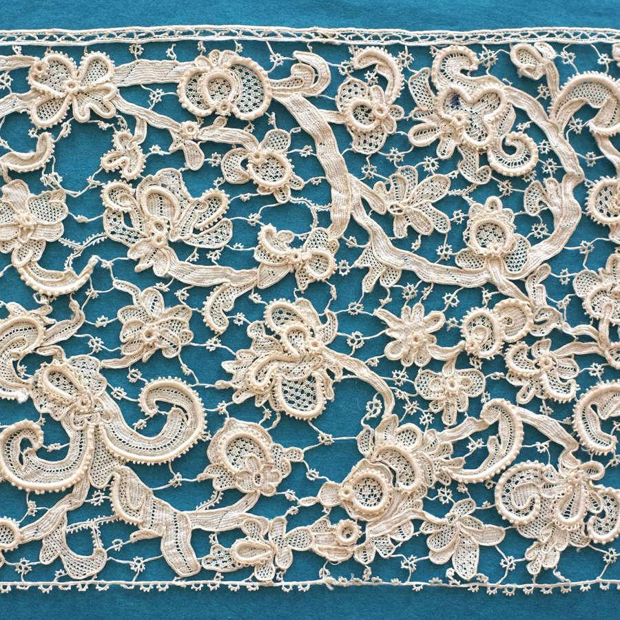 Antique 19th Century Venetian Style Needle Lace Border