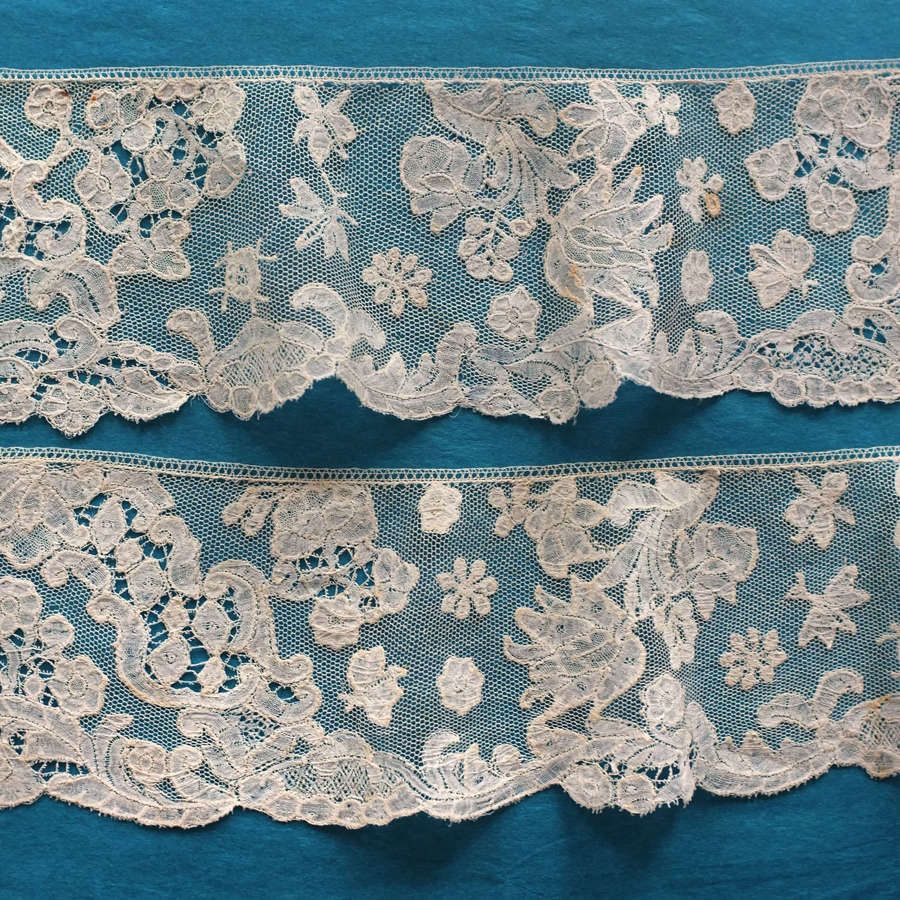 Antique 18th Century Brussels Bobbin Lace Border with Butterflies