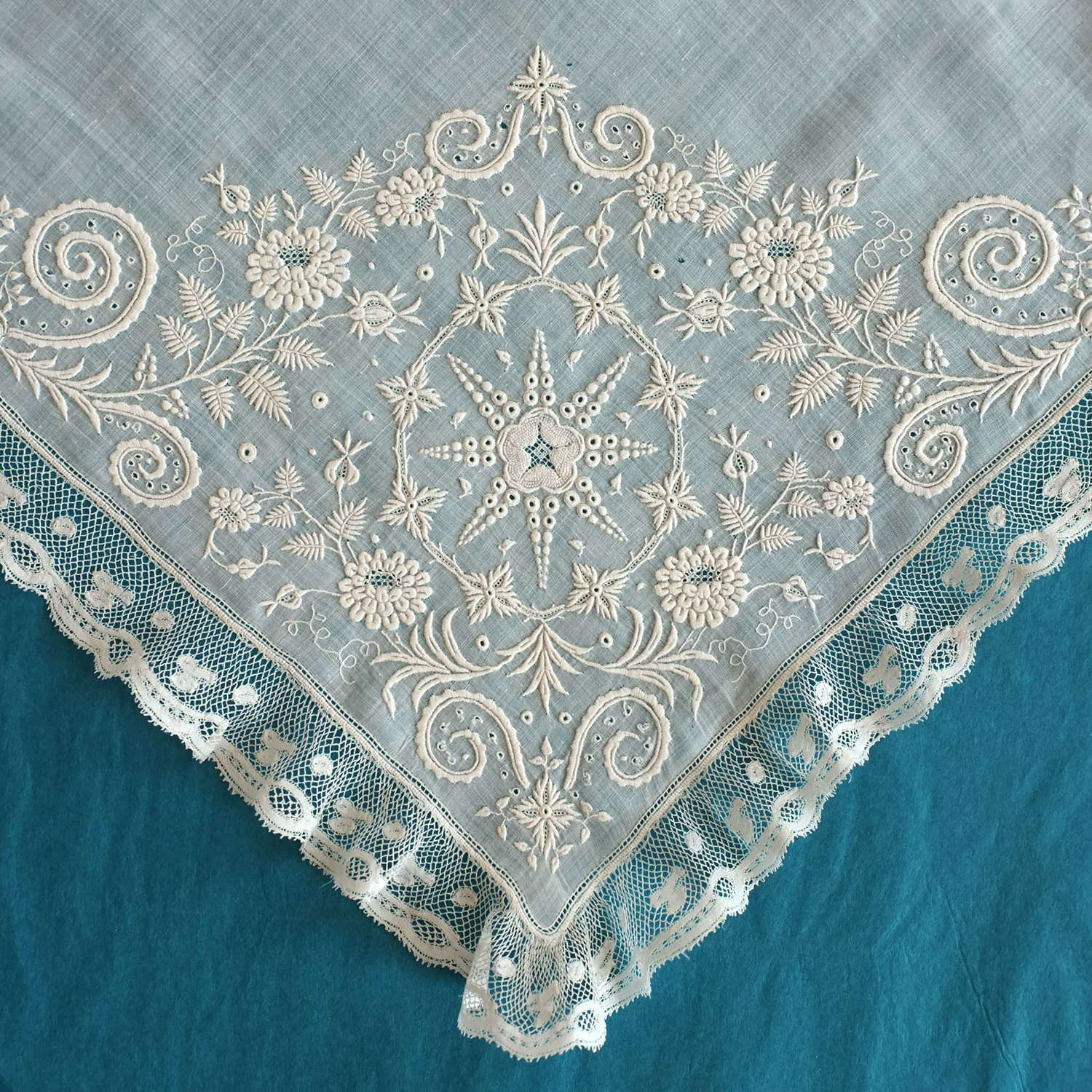 Antique late 18th /early 19th Century Whitework Handkerchief