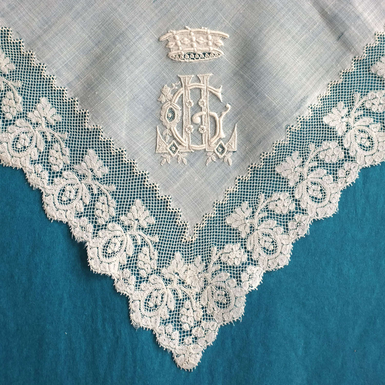 Antique Late 19th Century Handkerchief with Coronet of a Baron