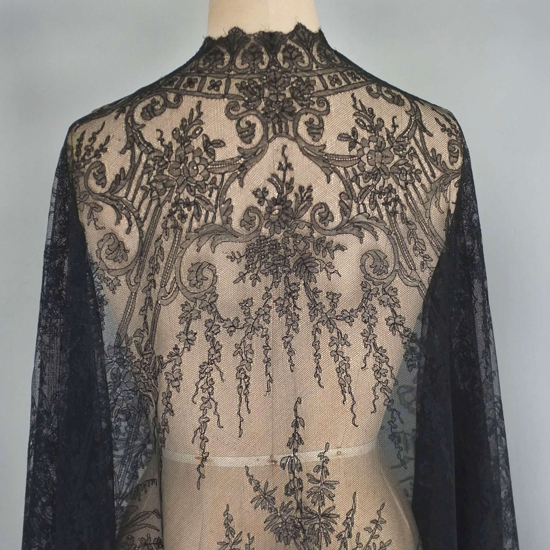 Antique Black Machine Lace Cape circa 1860