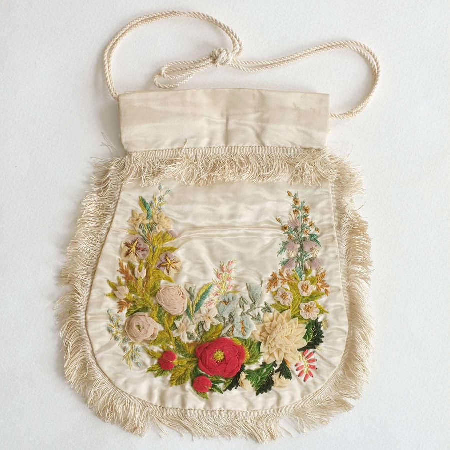 Antique Silk Embroidered Reticule circa 1830