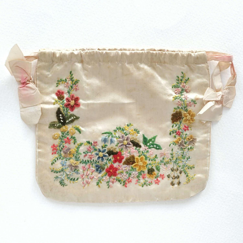 Antique Silk Embroidered Reticule circa 1820